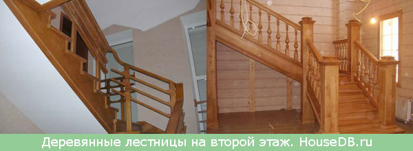 Лестница на второй этаж из дерева с забежными ступенями 110