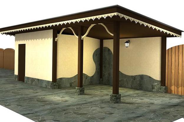 Беседка с сараем под одной крышей